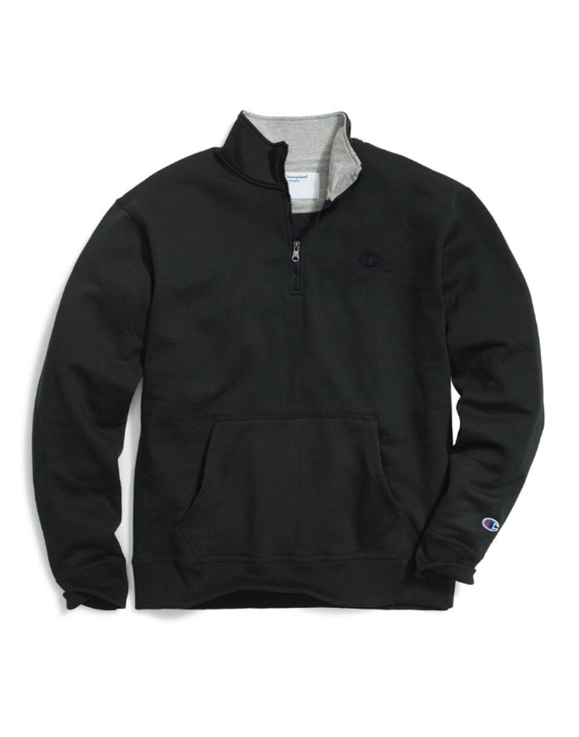 Black Front Champion Mens Powerblendå¨ Fleece 1/4 Zip Pullover S0896 407D55
