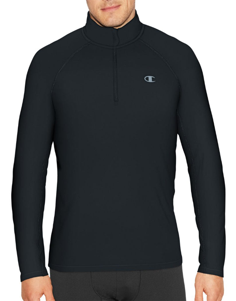Black Front Champion Mens Cold Weather Quarter Zip T31126