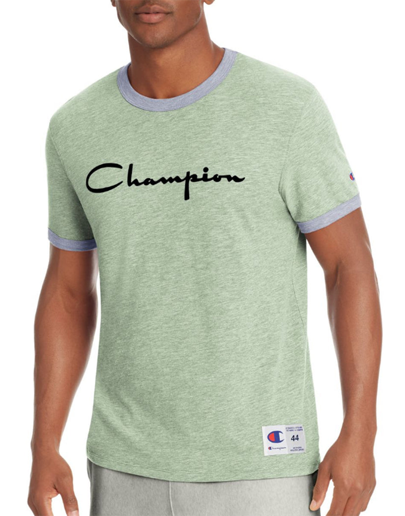 Dill Green Heather/Imperial Indigo Heather Front Champion Men's Heritage Ringer Tee, Flocked Script Logo