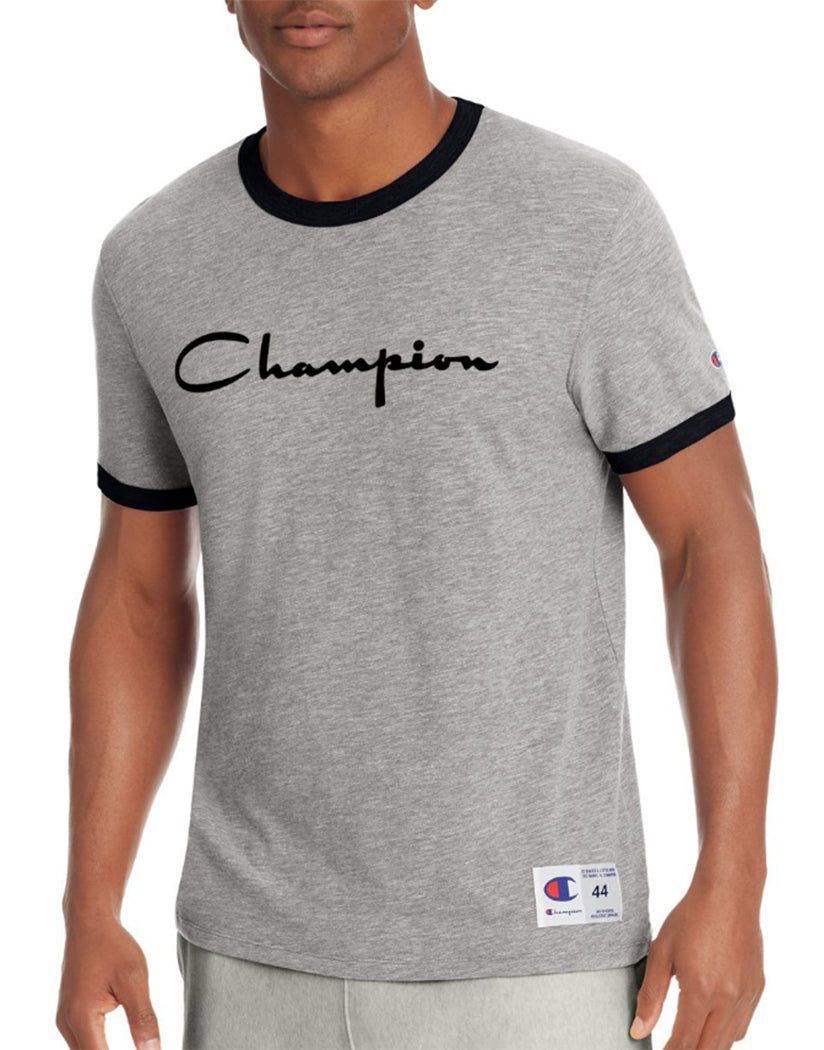 Grey Scarf Heather/Black Front Champion Men's Heritage Ringer Tee, Flocked Script Logo