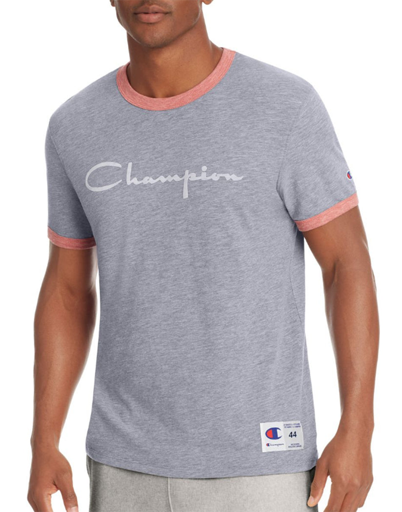 Imperial Indigo Heather/Fire Roasted Red Heather Front Champion Men's Heritage Ringer Tee, Flocked Script Logo
