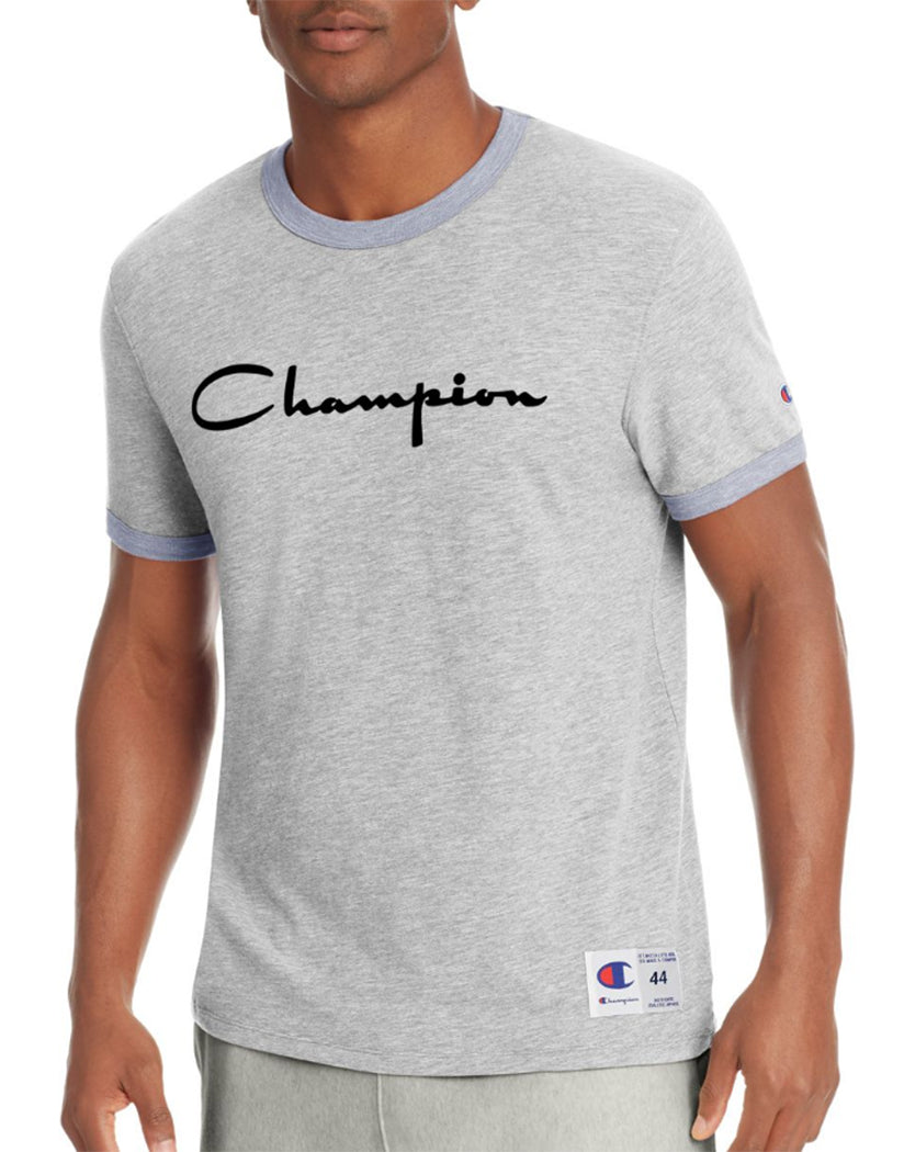 Oxford Grey/Imperial Indigo Heather Front Champion Men's Heritage Ringer Tee, Flocked Script Logo