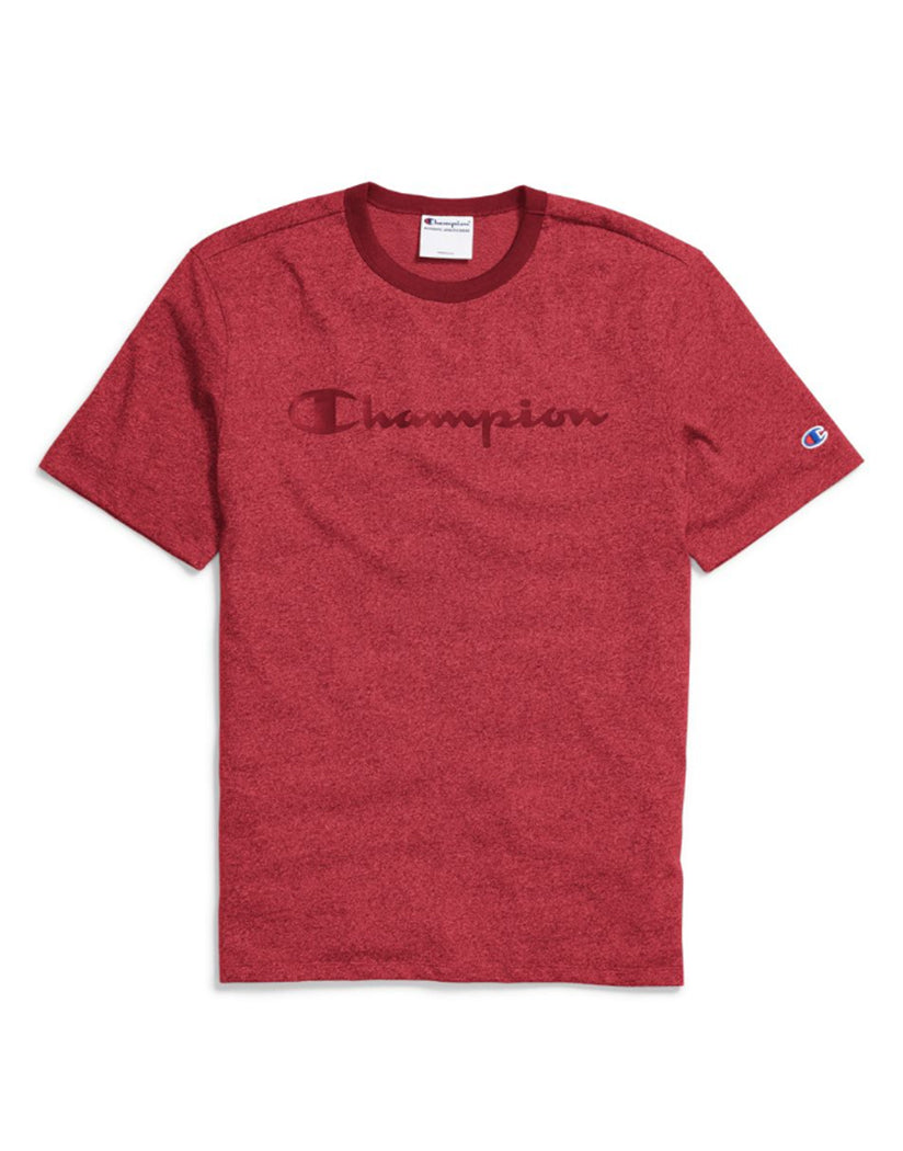b397198a8394 Sideline Red Heather/Mulled Berry Front Champion Men's Heritage Heather Tee,  Script Logo t4508g