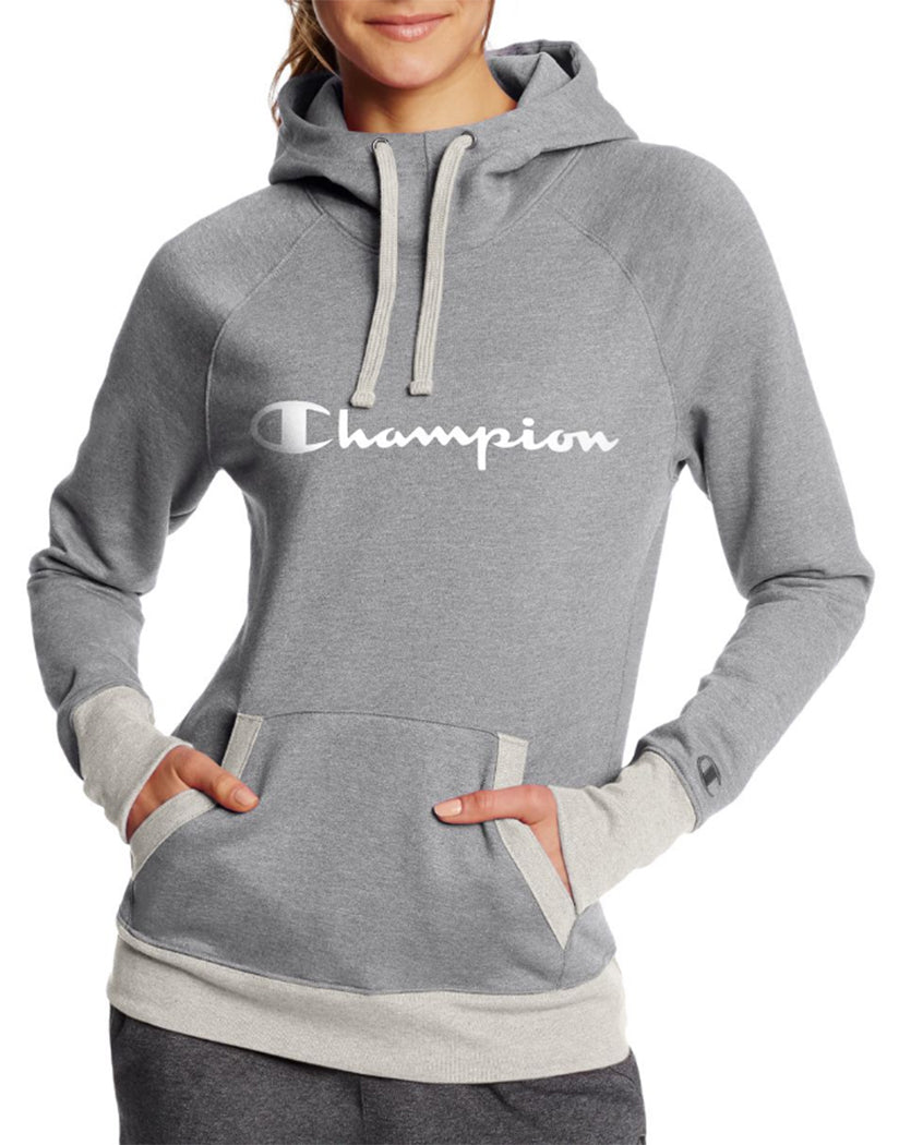 Oxford Grey Heather/Oatmeal Heather Front Champion Women's Fleece Pullover Hoodie