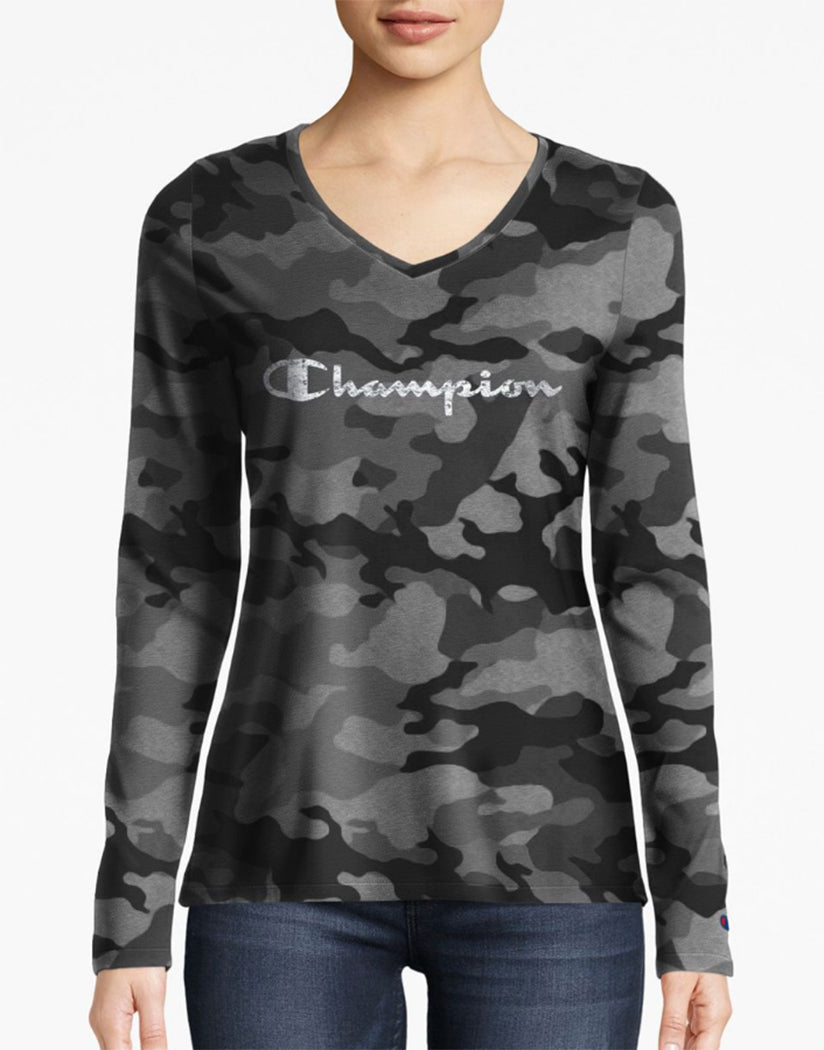 Textured Camo Black Front Champion Women Authentic Wash Long Sleeve Tee-Champion Script White W3138P 549664