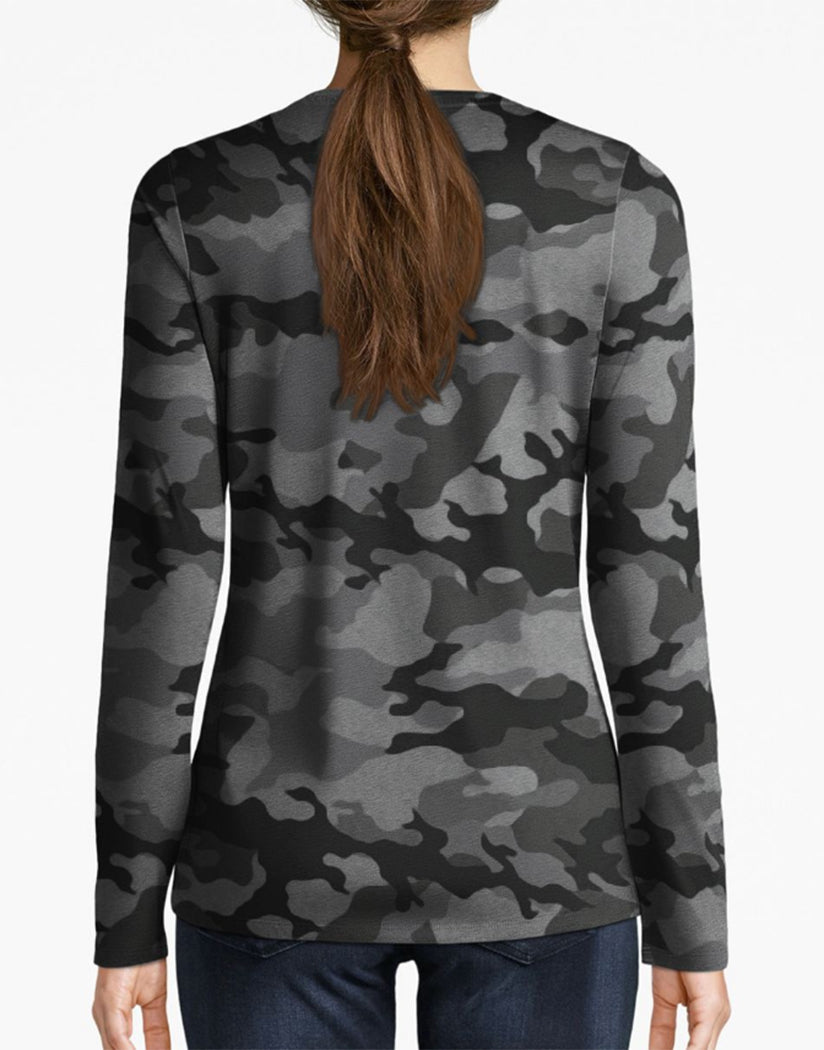 Textured Camo Black Back Champion Women Authentic Wash Long Sleeve Tee-Champion Script White W3138P 549664