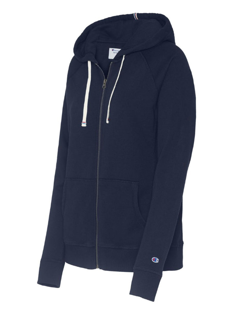 Imperial Indigo Front Champion Women Heritage French Terry Zip Hoodie W9494