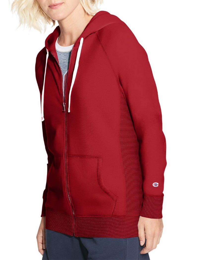 Sideline Red Front Champion Women Heritage French Terry Zip Hoodie W9494