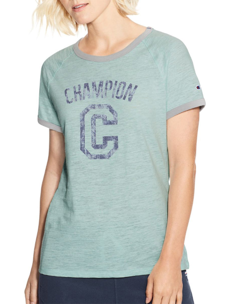 Blue Spearmint Heather/Oxford Grey Heather Front Champion Women's Heritage Ringer Tee-Big C