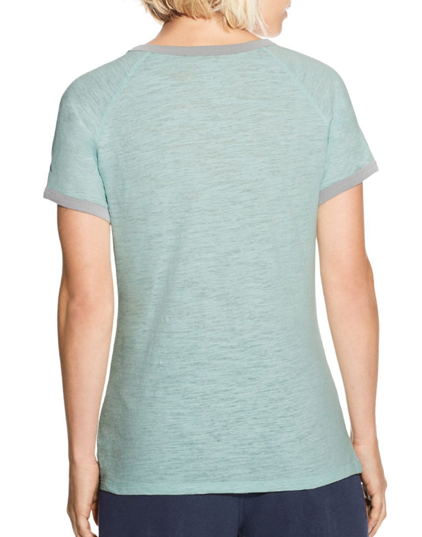 Blue Spearmint Heather/Oxford Grey Heather Back Champion Women's Heritage Ringer Tee-Big C
