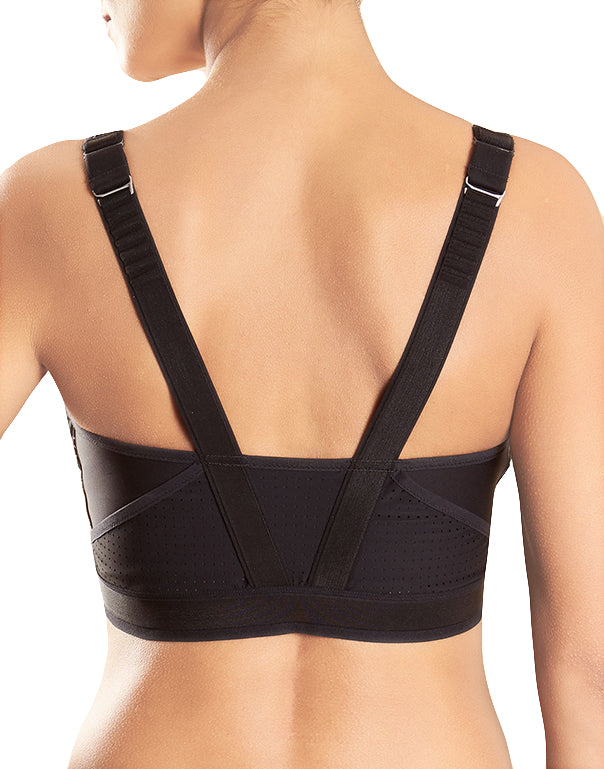 Black/White Back Medium Impact Wireless Sports Bra