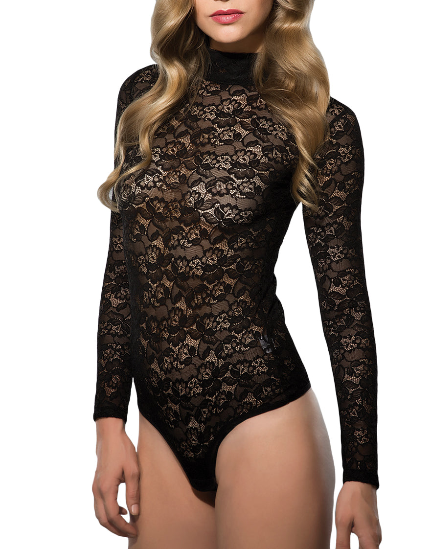 Black Front All Over Lace Avantgarde Bodysuit