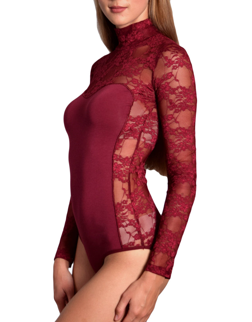 Bordeaux Side Doreanse Women Lace Turtleneck Avantgarde Bodysuit 12444