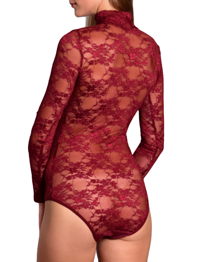 Bordeaux Back Doreanse Women Lace Turtleneck Avantgarde Bodysuit 12444