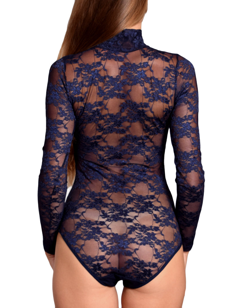 Navy Back Doreanse Women Lace Turtleneck Avantgarde Bodysuit 12444