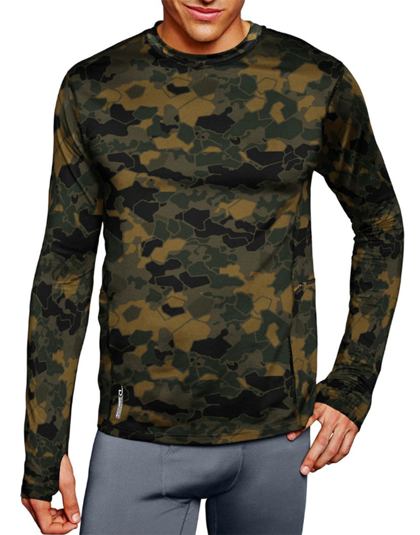 Tawney Brown Faster Asteroid Camo Front Duofold by Champion Brushed Back Mens Crew Prints