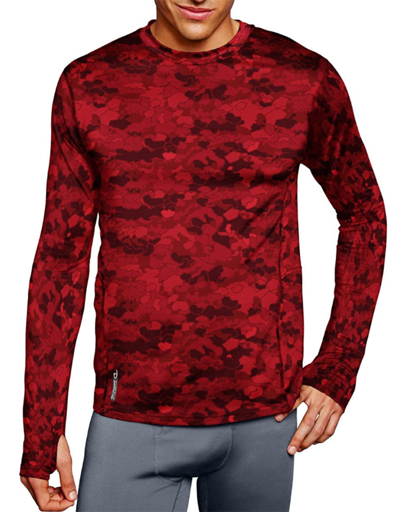 Team Red Scarlet Faster Asteroid Camo Front Duofold by Champion Brushed Back Mens Crew Prints
