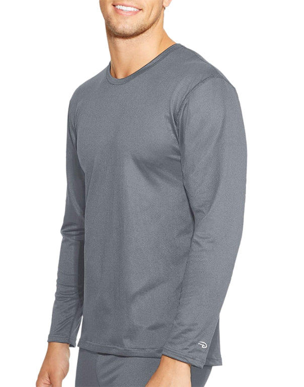 Smoked Pearl Front Duofold by Champion Varitherm Mens Long-Sleeve Thermal Shirt KMC1