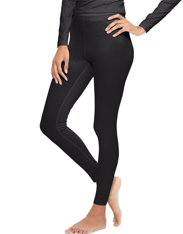 Black Front Duofold by Champion Varitherm Womens Base-Layer Thermal Pants