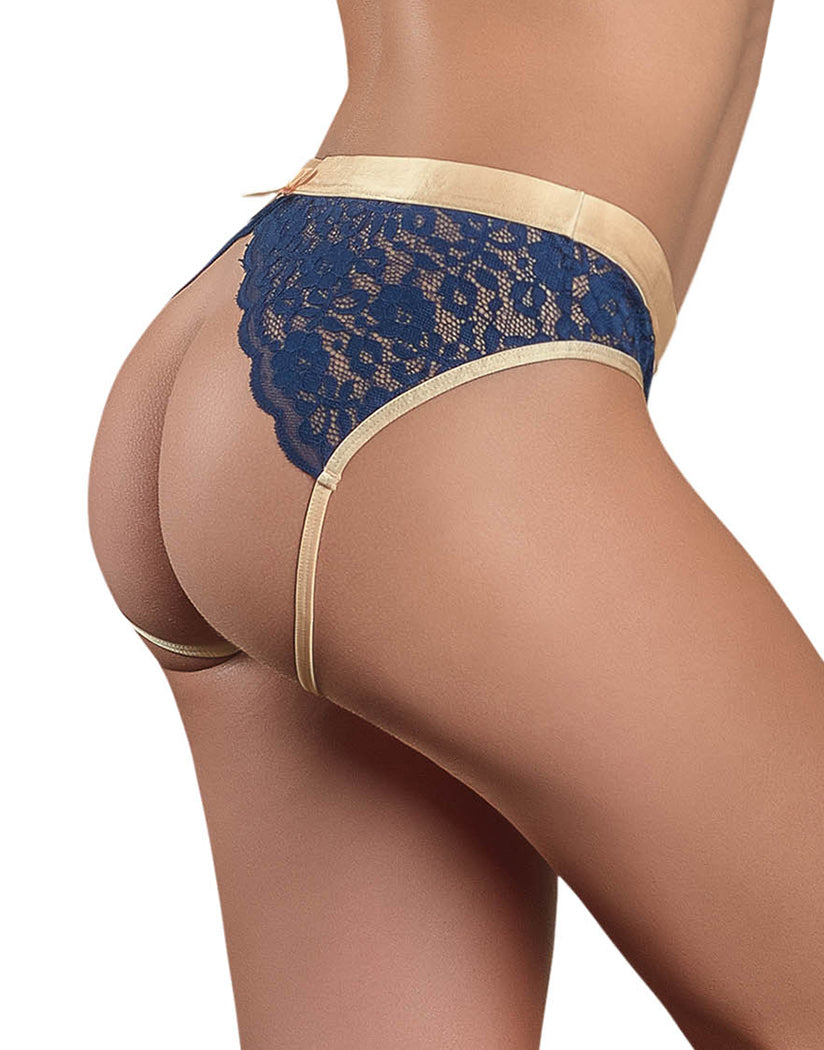 Navy Side Exposed Naughty Navy Crotchless Panty M150