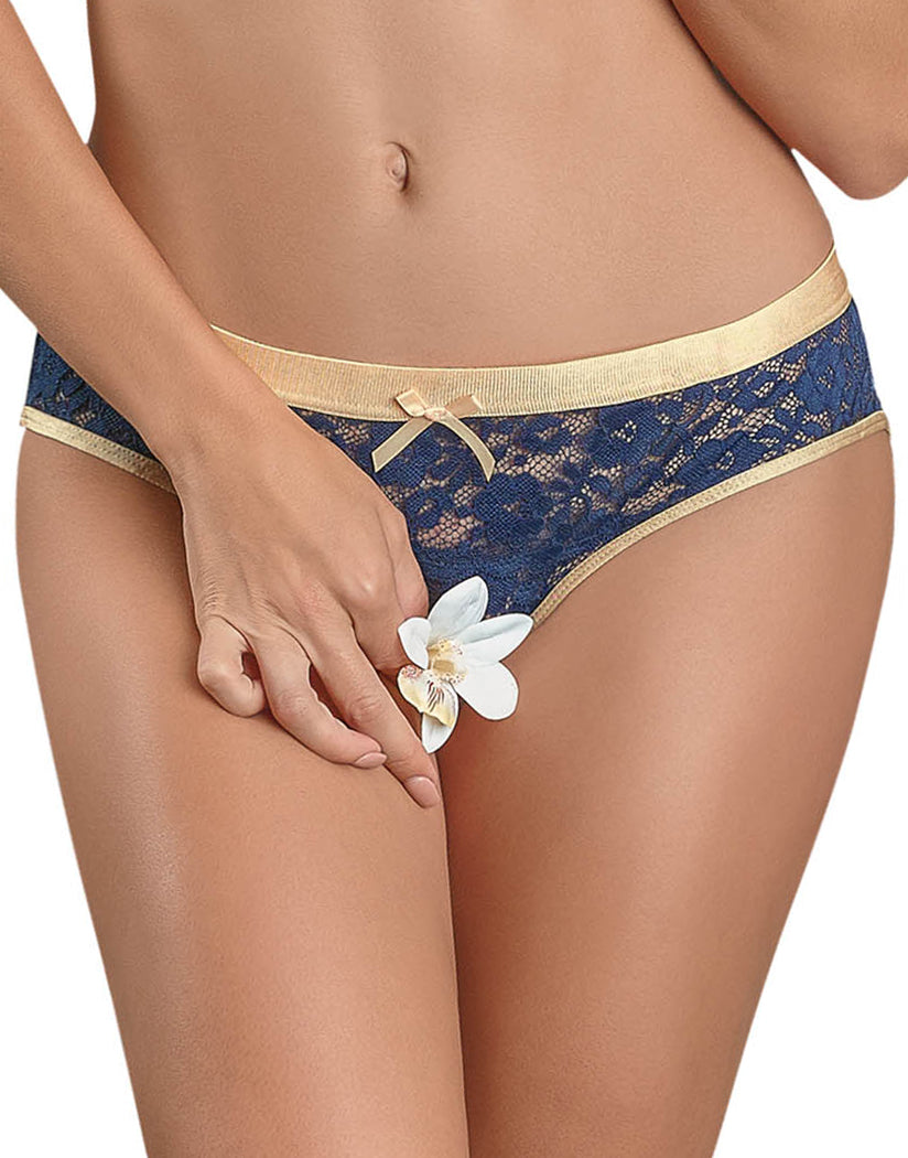 Navy Front Exposed Naughty Navy Crotchless Panty Queen Size M150
