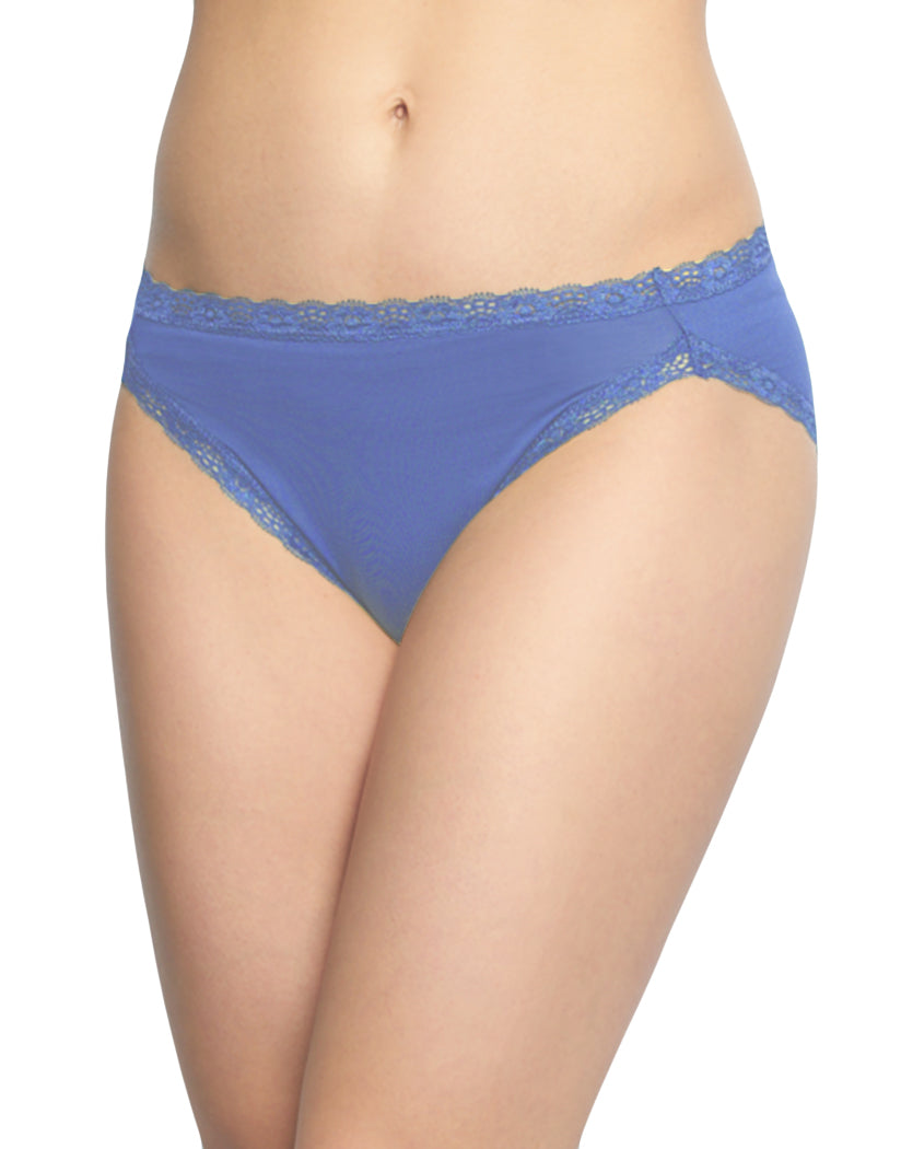 Blue Coral/Blue Iris/Meadow Mauve Front Felina 3-Pack Hi-Cut with Lace Trim Panty C2898