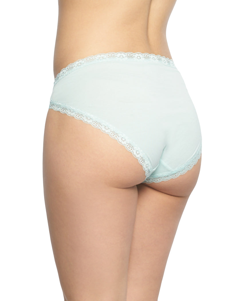 Icy Morn/Dark Sapphire/Heather Grey Back Felina 3-Pack Hi-Cut with Lace Trim Panty