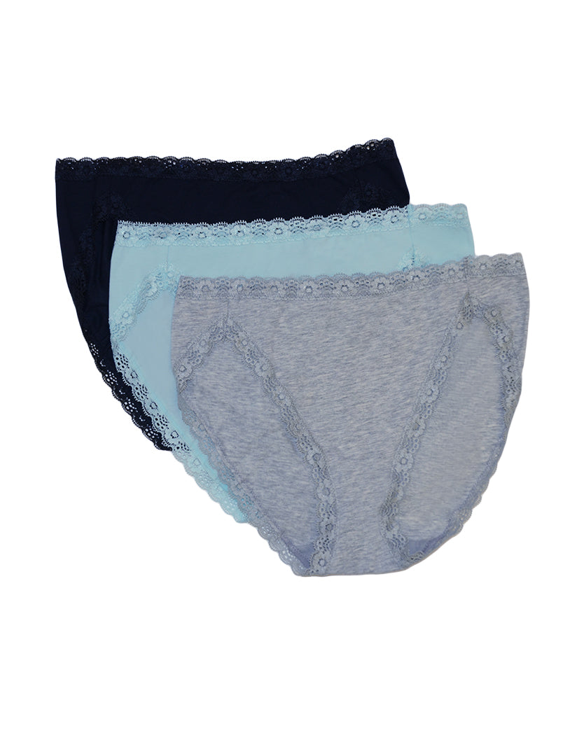 Icy Morn/Dark Sapphire/Heather Grey Front Felina 3-Pack Hi-Cut with Lace Trim Panty