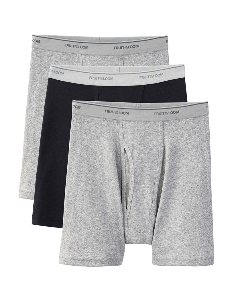 Fruit of the Loom 3-Pack Boxer Briefs Black/Grey L 885306277550