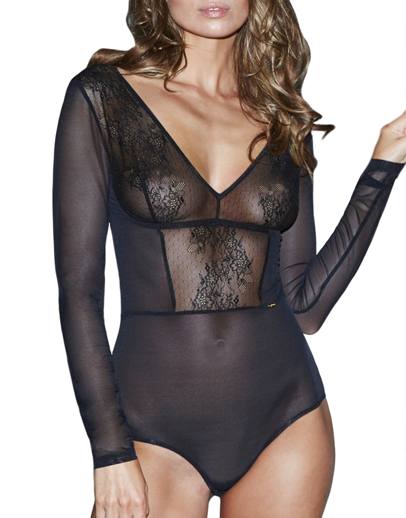 Black Front Glossies Lace Sheer Lace Bodysuit