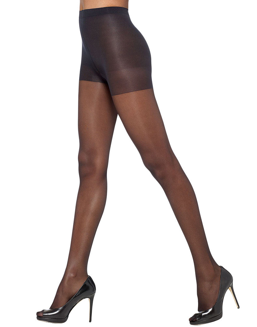 Black Front HUE So Silky  Control Top with Invisible Reinforced Toe Pantyhose