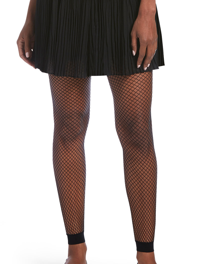 Black Front HUE Footless Fishnet Tights 19141