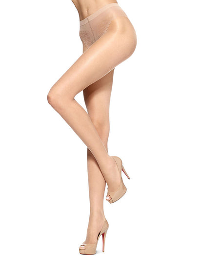 Natural Front HUE French Lace Control Top Pantyhose