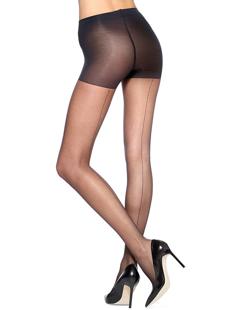Black Front HUE Pretty Details Backseam Control Top Pantyhose