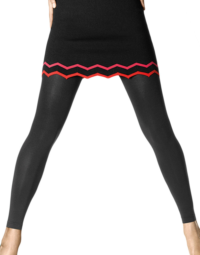 Black Front Super Opaque Footless Tights with Control Top