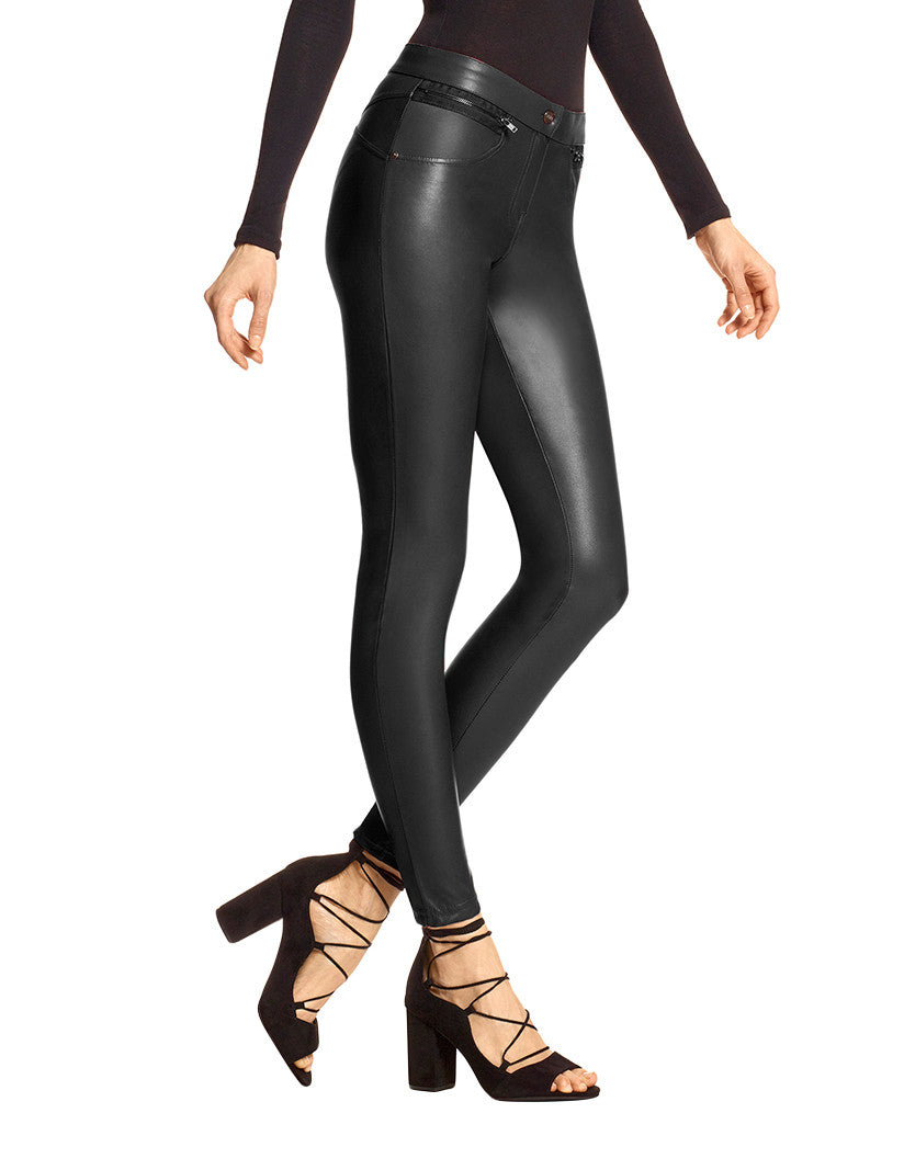 Black Front Leatherette Leather Leggings