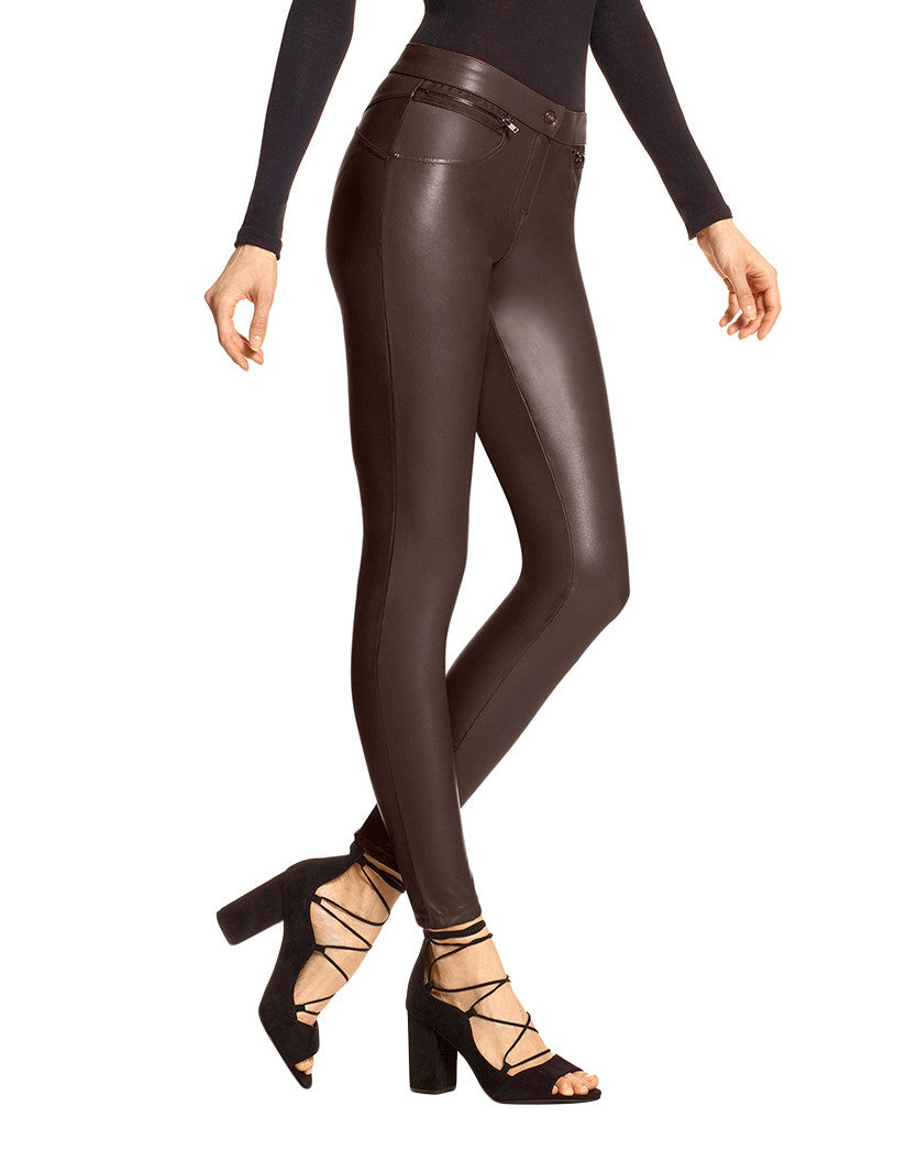 Espresso Front Leatherette Leather Leggings