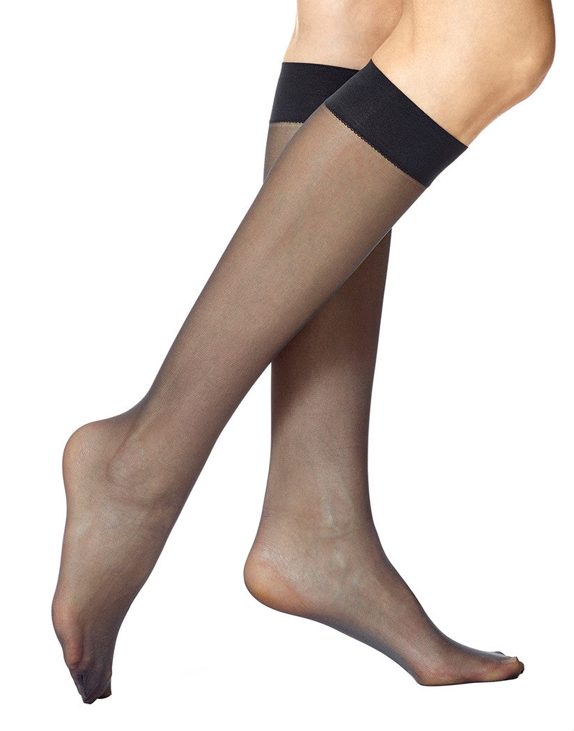 Black Front Sheer Knee Hi 2 Pair Pack Hosiery