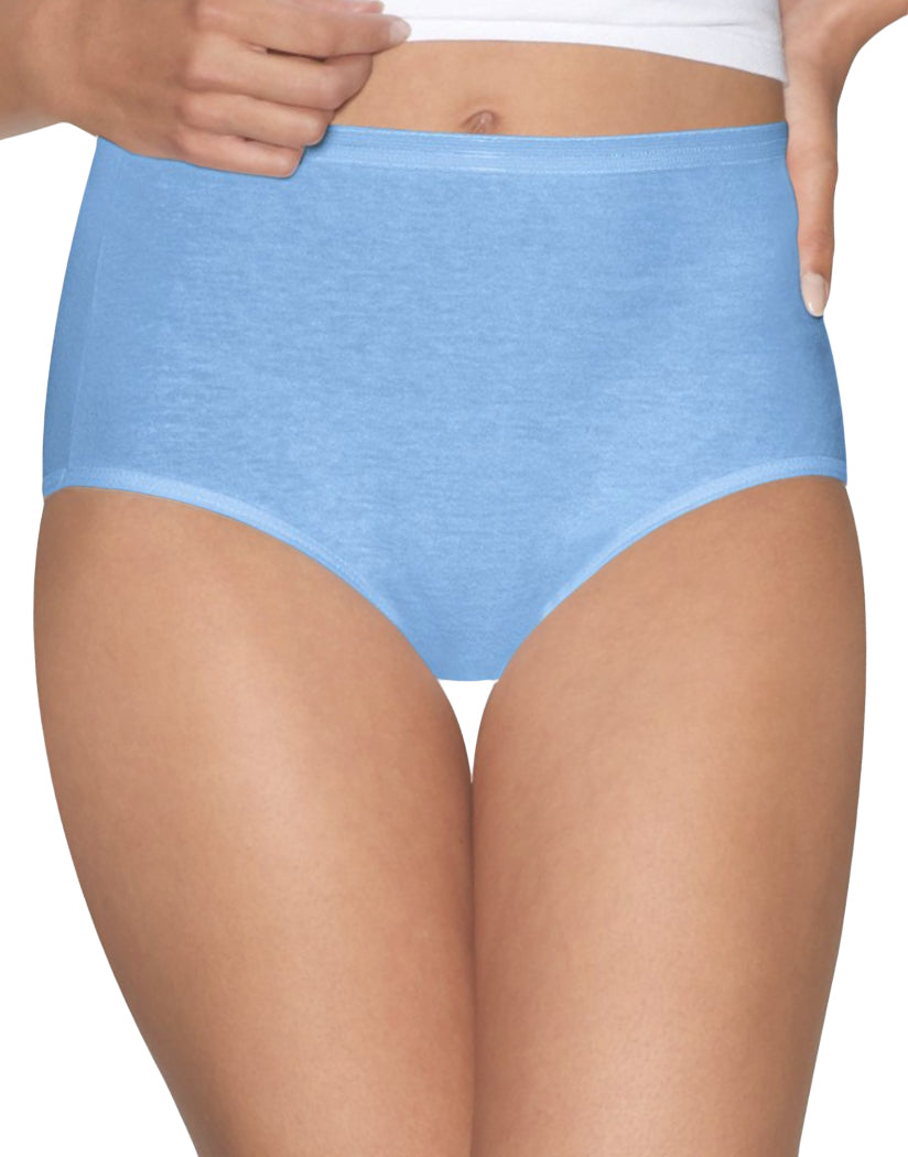 Blue/White Front Hanes Women Ultimate Comfort Cotton Brief Panties 5-Pack 40HUCC