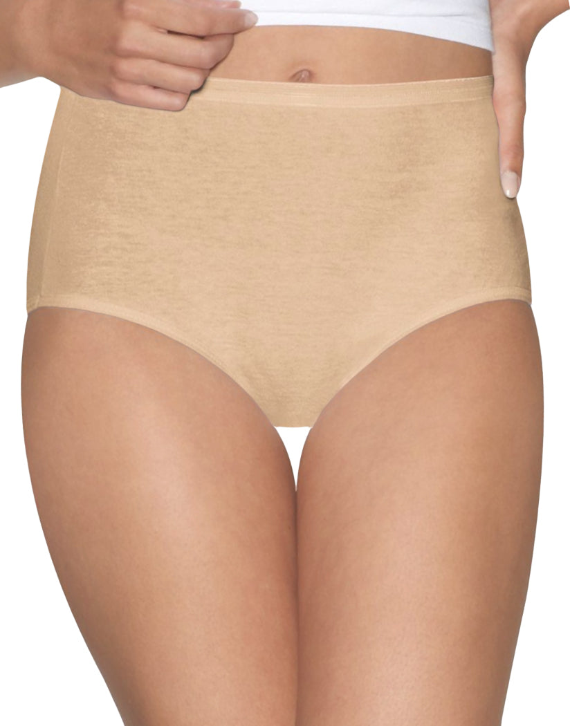 Nude Dot/White Front Hanes Women Ultimate Comfort Cotton Brief Panties 5-Pack 40HUCC