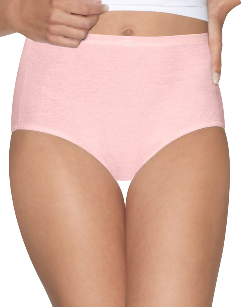 Pink/White Front Hanes Women Ultimate Comfort Cotton Brief Panties 5-Pack 40HUCC
