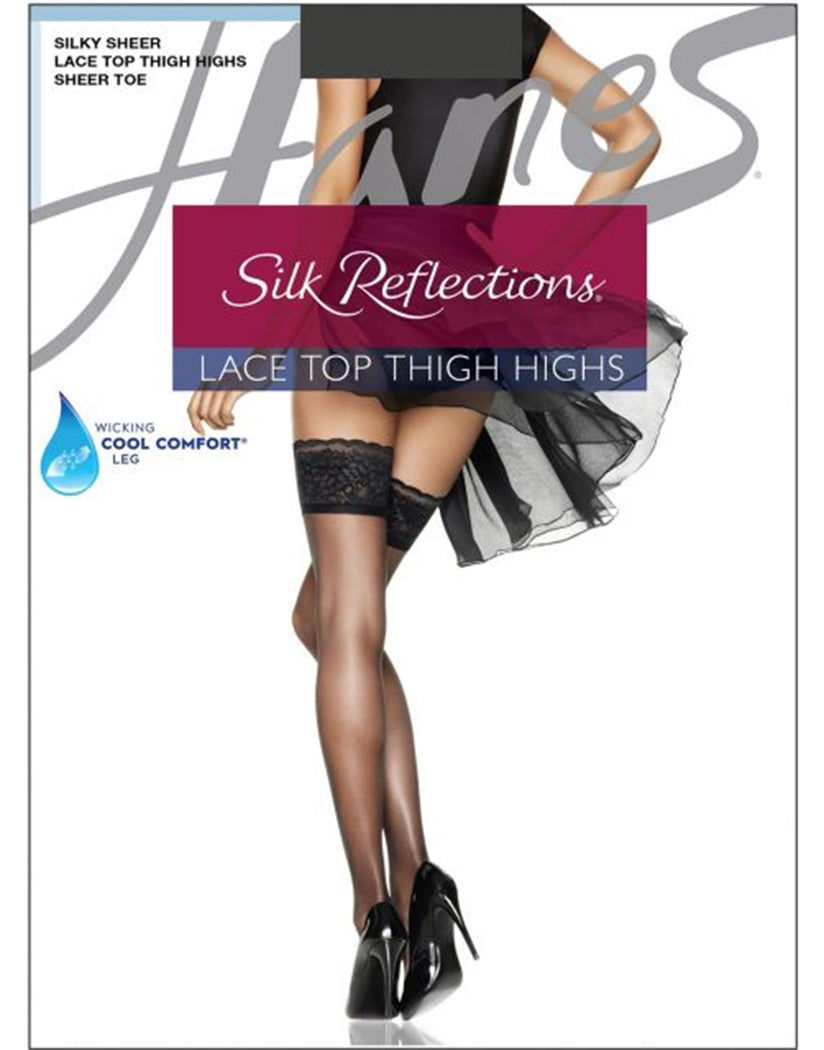 Barely Black Front Hanes Women Silk Reflections Lace Top Thigh Highs 0A444
