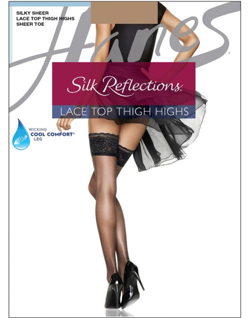 Barely There Flat Hanes Women Silk Reflections Lace Top Thigh Highs 0A444
