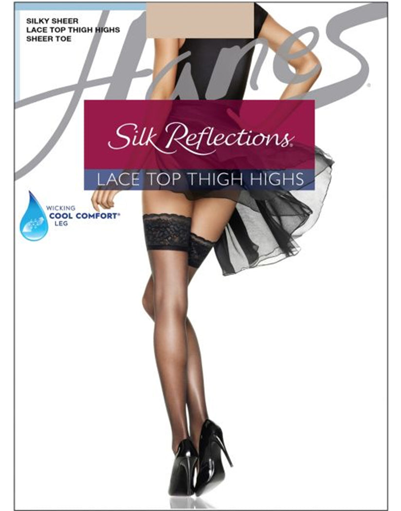 Travel Buff Front Hanes Women Silk Reflections Lace Top Thigh Highs 0A444