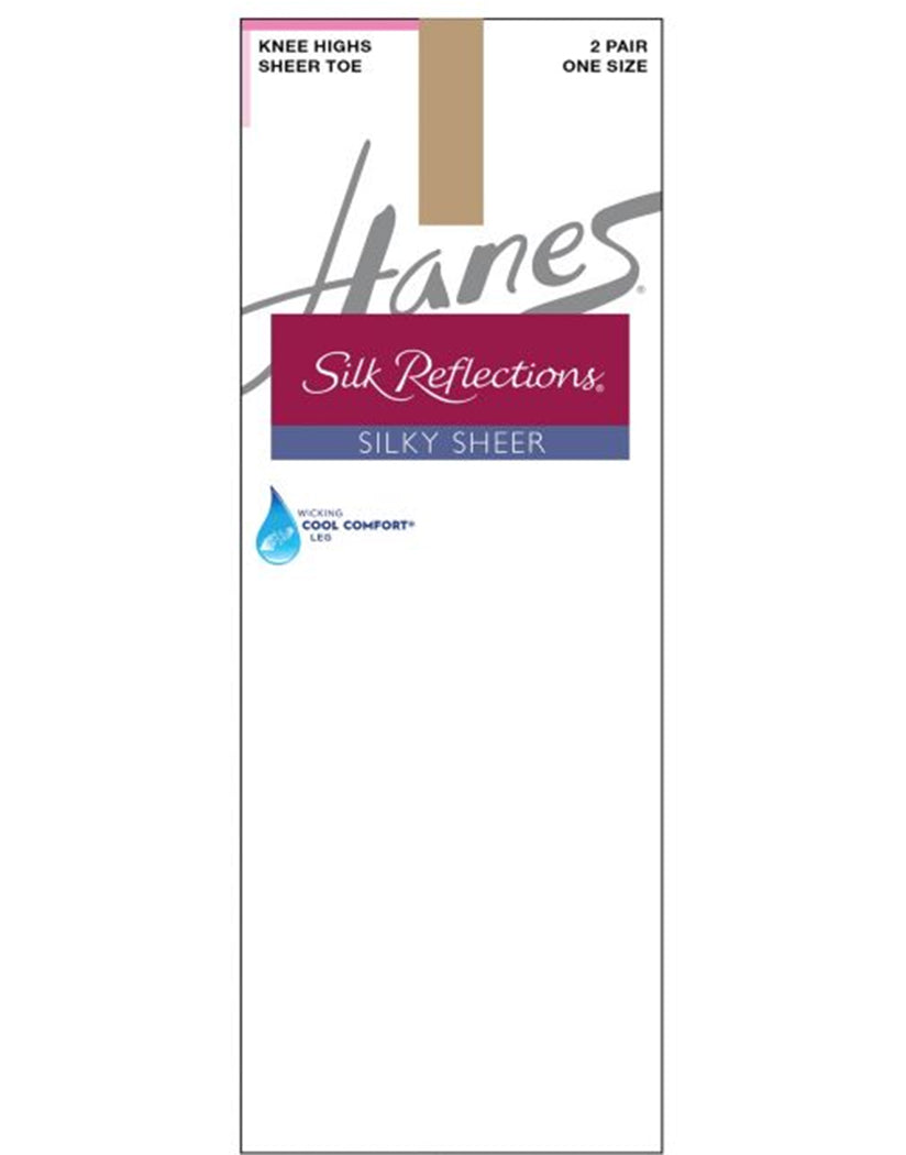 Little Color Front Hanes Women Silk Reflections 2-Pack Silky Sheer Sandalfoot Knee High 725