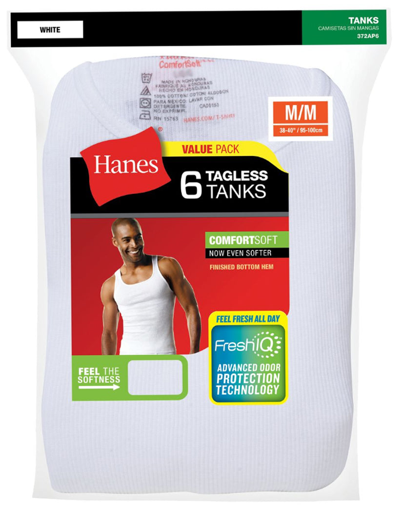 White Other Hanes Men 6-Pack Tagless ComfortSoft Tank 372AP6
