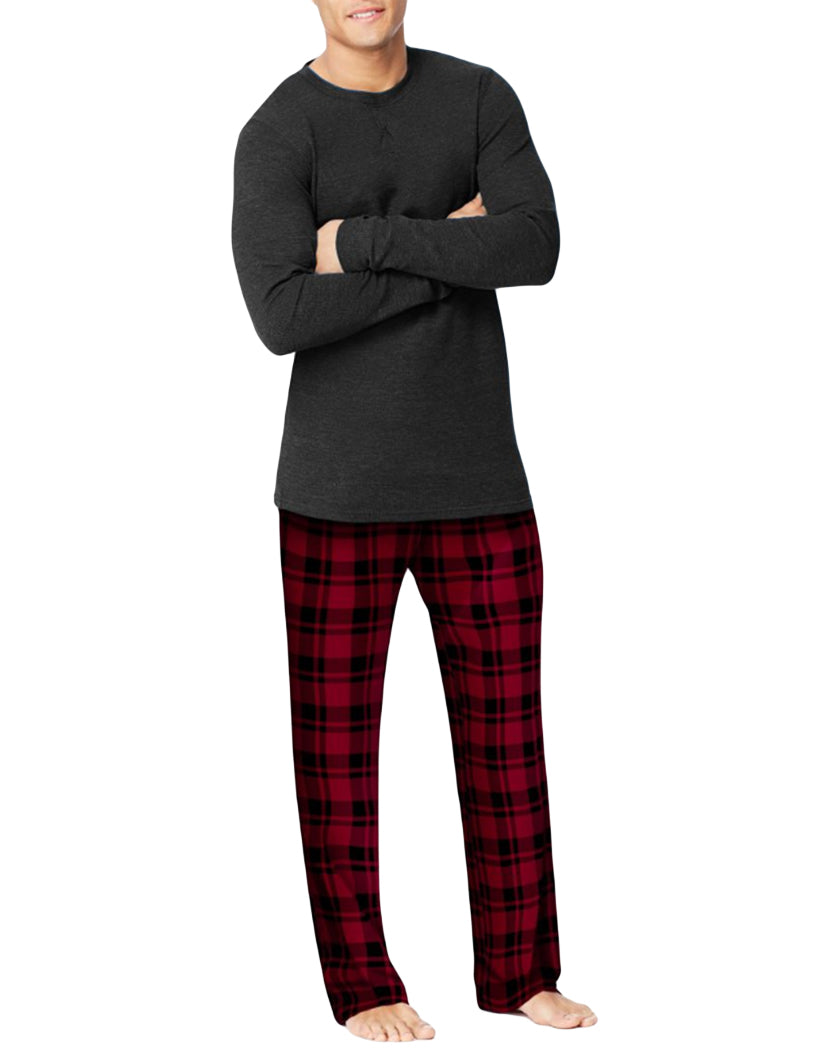 Black Front Hanes X-Temp䋢 Men's Microfleece Sleep Set 03018