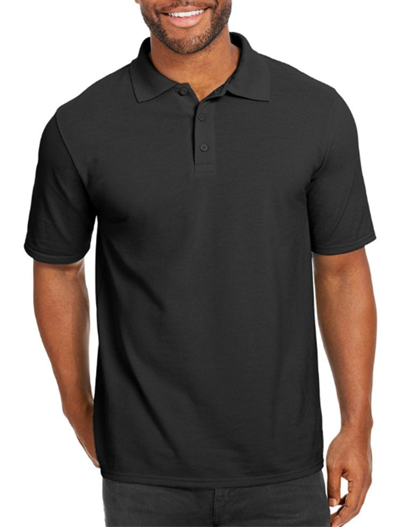 Black Front Hanes Men X-Temp w/Fresh IQ Pique Polo