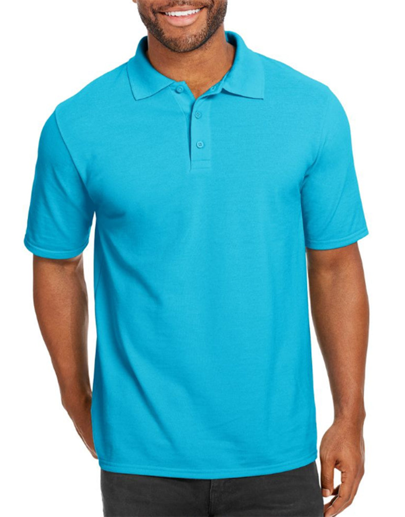 Blue Horizon Front Hanes Men X-Temp w/Fresh IQ Pique Polo 055P