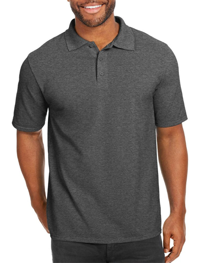 Charcoal Heather Front Hanes Men X-Temp w/Fresh IQ Pique Polo